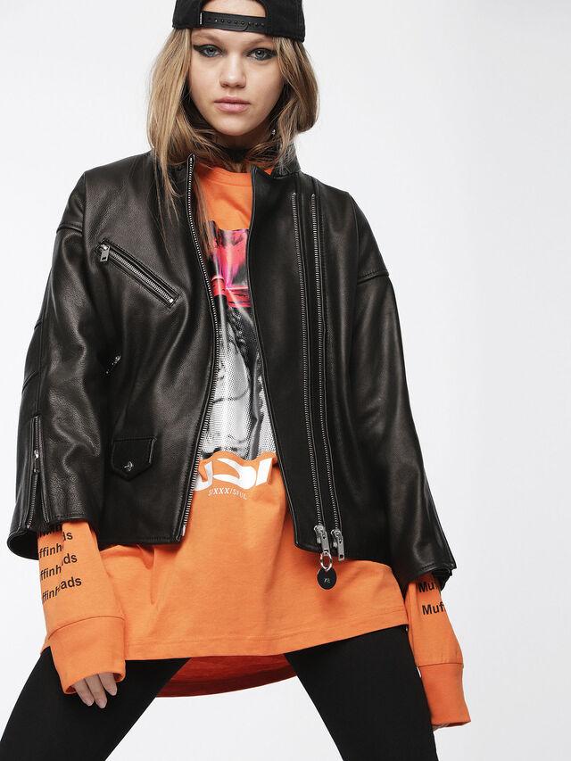 Diesel - L-DROP, Black Leather - Leather jackets - Image 1