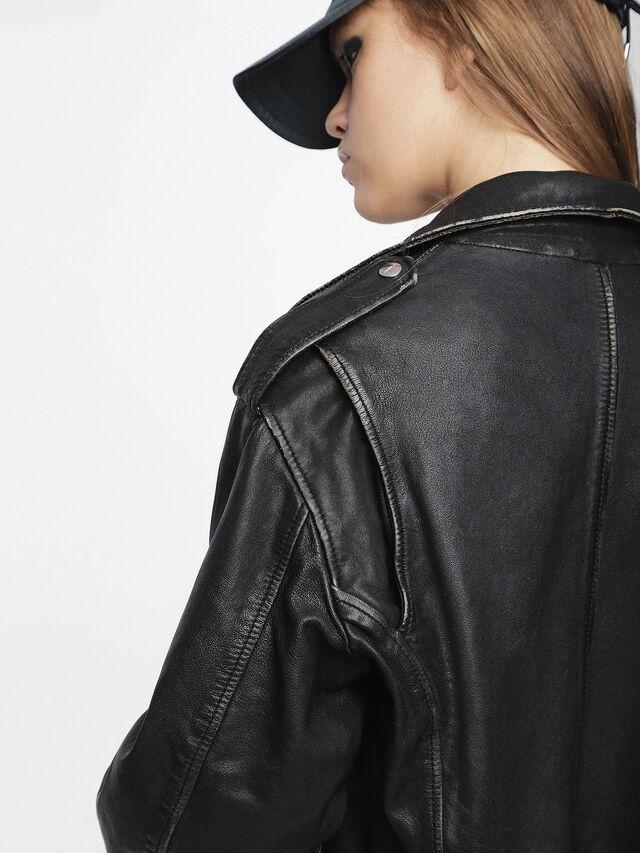 Diesel - L-HELGHEM, Black Leather - Leather jackets - Image 4