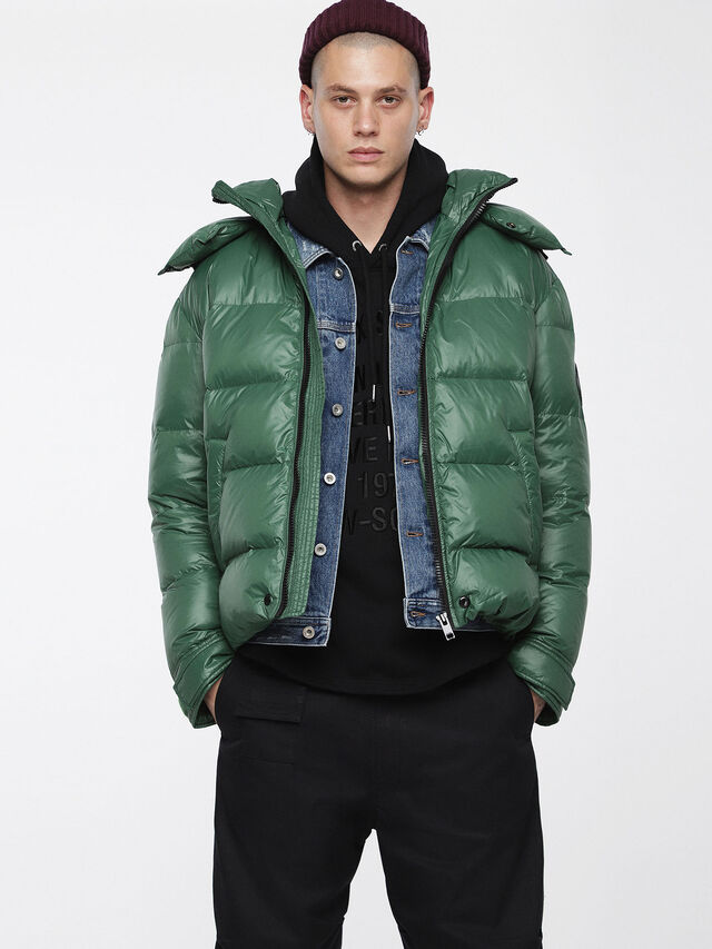 Diesel - W-SMITH-A, Bottle Green - Winter Jackets - Image 1