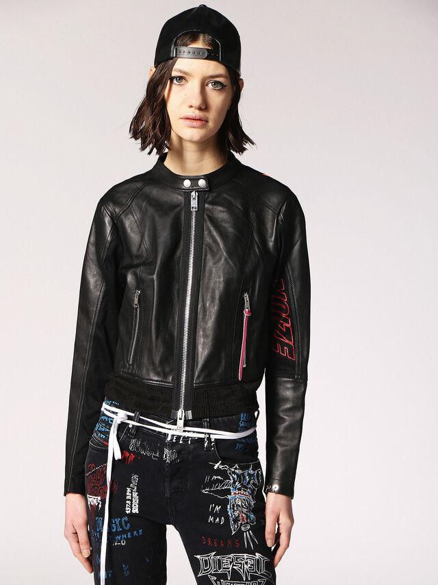 Diesel - L-LYSSA-B, Black Leather - Leather jackets - Image 1