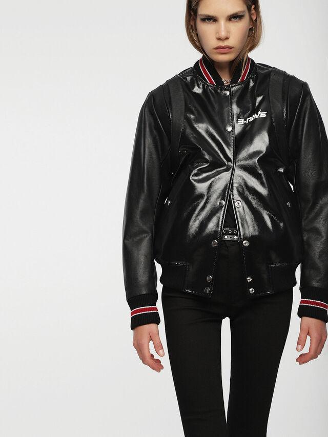 Diesel - L-BYLLA, Black Leather - Leather jackets - Image 5