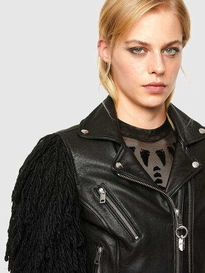 Diesel - L-ELIZABETH, Black - Leather jackets - Image 3