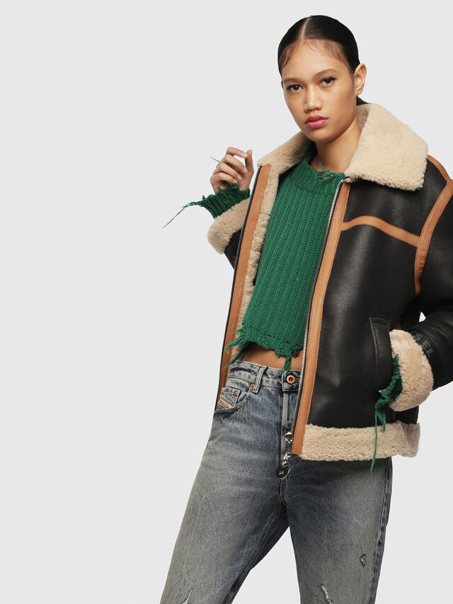 Diesel - L-FOLSON-FL, Black/Brown - Leather jackets - Image 5